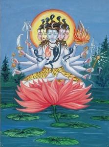 Shiva raffigurato nella sua forma di Sadashiva.