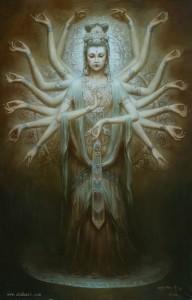 Guanyin - dipinto ad olio di Zeng Hao