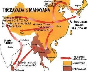 Diffusione del Buddhismo Mahayaha e Theravada