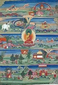 Thangka butanese del XVII-XIX sec. raffigurante alcune novelle jataka