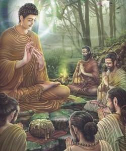 Buddha Sakyamuni insegna il Dharma ai suoi discepoli
