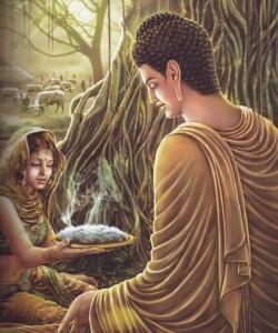 Buddha Sakyamuni accetta il riso donatogli da una fanciulla
