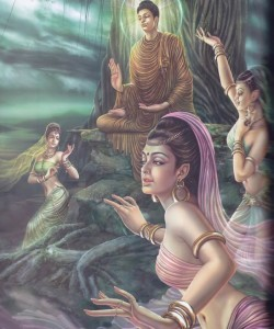 Le bellissime figlie di Mara tentano Buddha Sakyamuni