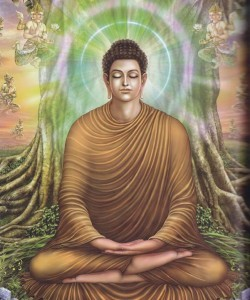 Entrato in meditazione sotto l'albero della bodhi, Buddha Sakyamuni raggiunge l'illuminazione