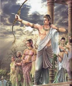 Tiro con l'arco: una delle prove di abilità che Buddha Sakyamuni supera brillantemente.