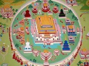 Schema architettonico del complesso monastico di Samye.  La forte simbologia è evidente nel disegno della piantina che ripropone la struttura di un mandala.